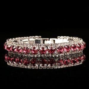 Jewelry - 12 CTW Pink Zircon White CZ Tennis Bracelet Silver